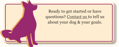 Ready to get started or have questions? Contact us to tell us about your dog & your goals.